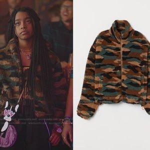 H&M Camo Fleece Sherpa Zip Up Jacket M